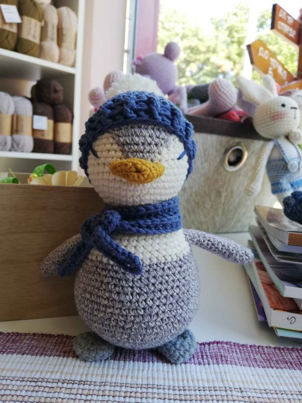 crochet-penguin-toy-grey-front