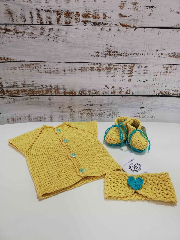 Yellow Baby Set - Vest, Socks, Headband