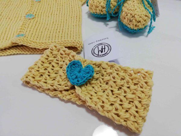 Yellow Baby Set - Headband with blue heart