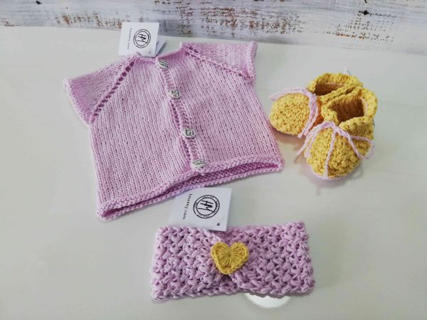 Baby Set in pink and yellow