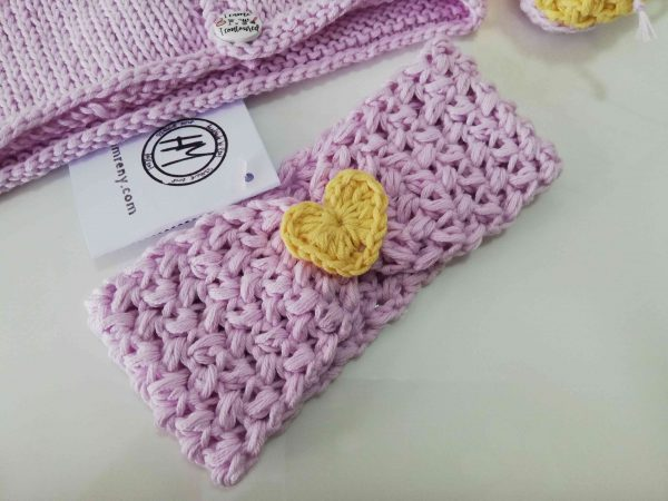 Baby Set in pink and yellow - Handband with yellow heart