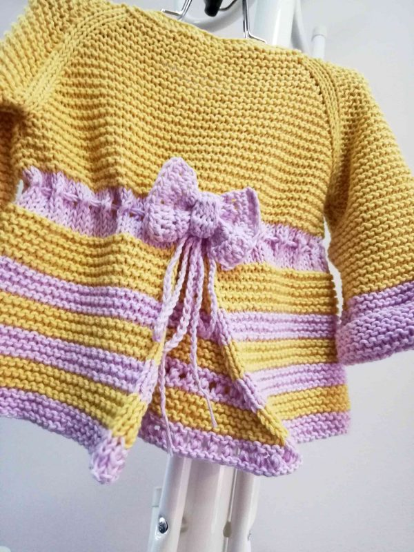 Fresh Hand Knit Girl Vest with Ribbon 03