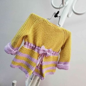Fresh Hand Knit Girl Vest with Ribbon