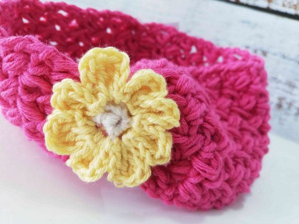 Crochet Headbands with Flowers - red 02