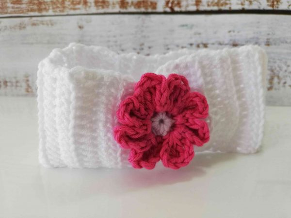 Crochet Headbands with Flowers - white 02