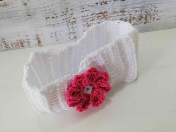 Crochet Headbands with Flowers - white 03