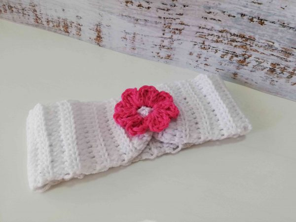 Crochet Headbands with Flowers - white 04
