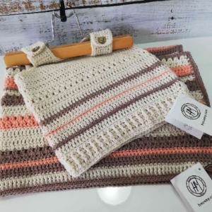 Crochet baby Set in Brown, Beige and Orange