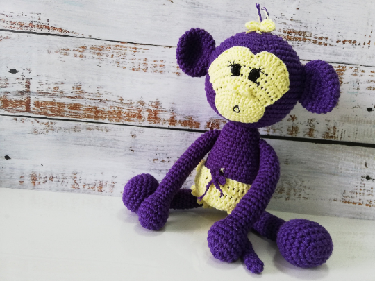 Crochet Amigurumi Monkey - Purple 01