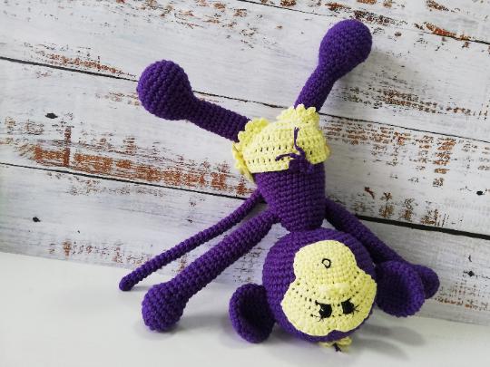 Crochet Amigurumi Monkey - Purple 04