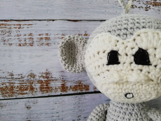 Crochet Amigirumi Monkey Toy- Grey 08