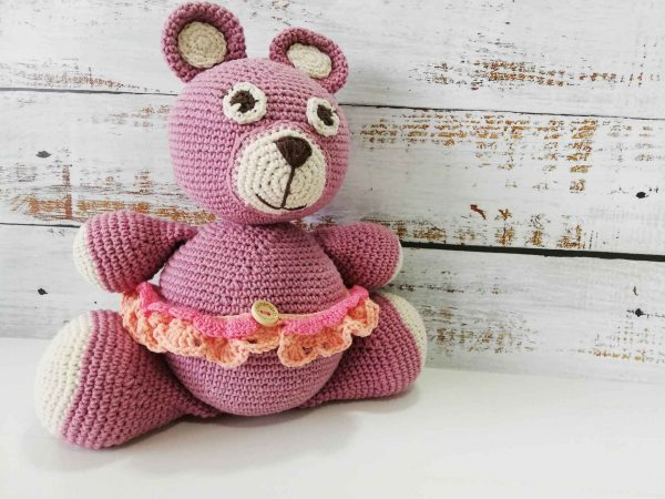 Teddy-bear-Madly-pattern-peach-skirt