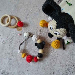 Mickey and pacifier clips set