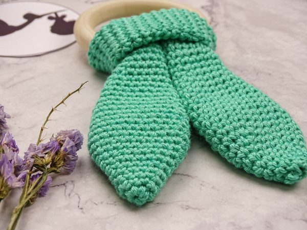 bunny baby teether in mint color ears