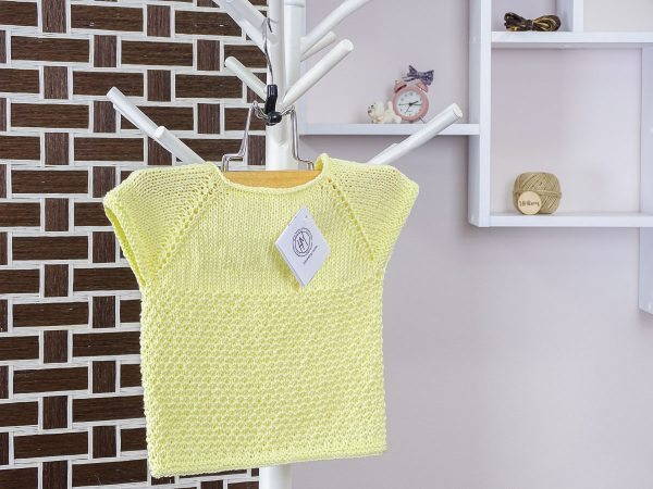 baby vest in yellow back