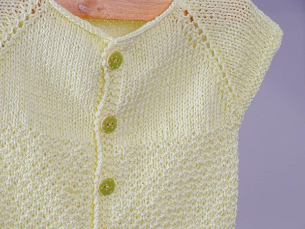 baby vest in yellow buttons