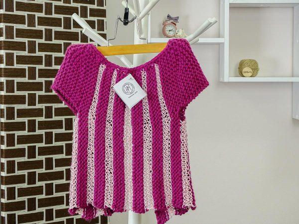 little lady vest in raspberry and baby pink back