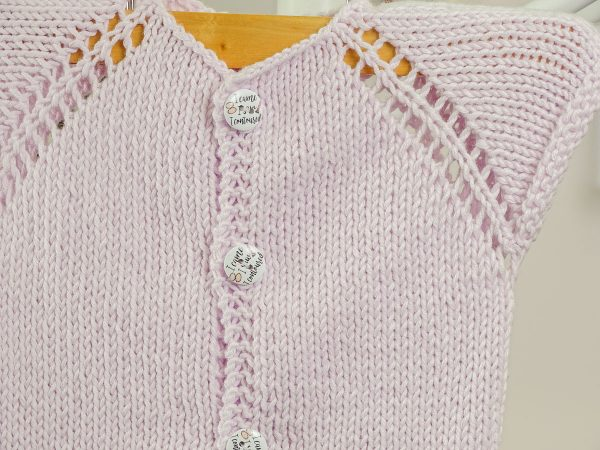newborn baby vest in purple buttons