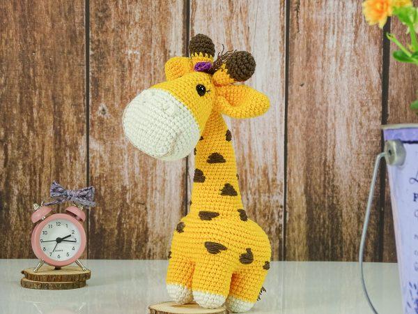 sweet lady giraffe with purple ribbon-1