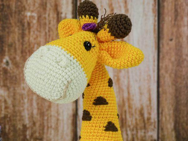 sweet lady giraffe with purple ribbon close shot