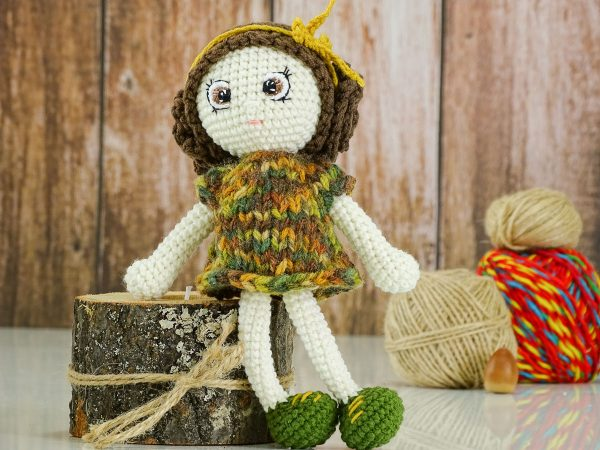 green autumn flower doll