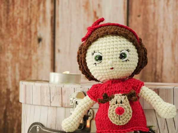 """christmas """"flower""""doll with red ribbon"""