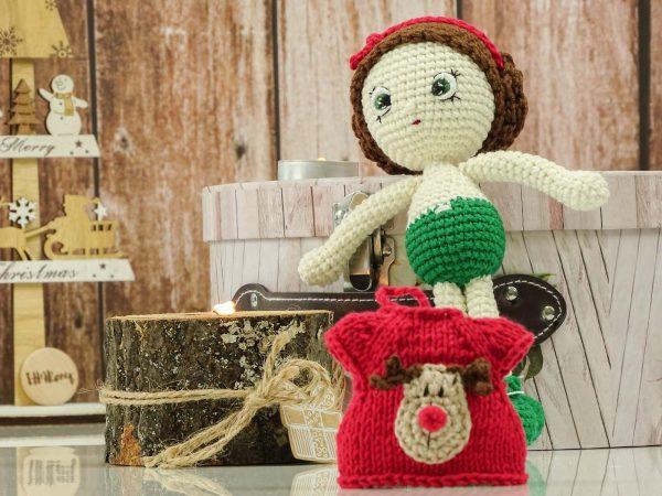"christmas ""flower""doll christmas ""flower""doll with changable deer dress"
